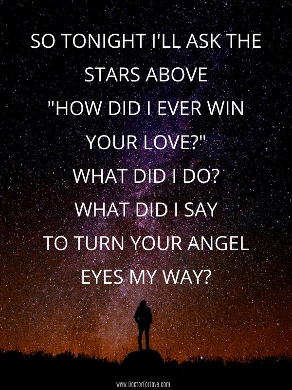 9. Tonight I will ask the sky Love Song Lyrics
