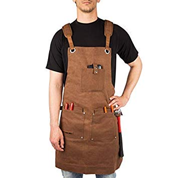 Waxed Canvas Heavy Duty Work Apron With Pockets - Deluxe Edition with Quick Release Buckle Adjustable up to XXL for Men