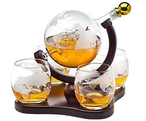 Whiskey Decanter Globe Set with 4 Etched Globe Whisky Glasses