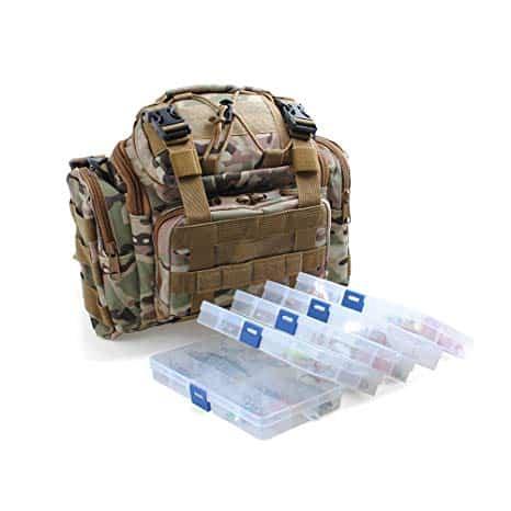 Dr.Fish Fishing Tackle Bag Loaded 5 Boxes 60 Huge Fishing Lures Kit