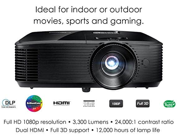 Optoma HD243X 1080p Projector for Movies and Gaming