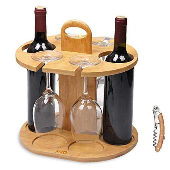 Wine Bottle Holder Glass Cup Rack w/Handle