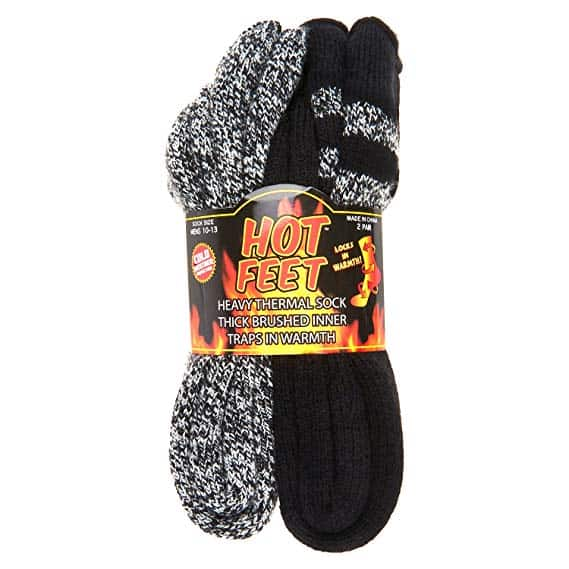 Hot Feet Cozy, Heated Thermal Socks for Men, Warm, Patterned Crew Socks, USA Men's Sock Sizes 6 – 12.5 - Hot Feet