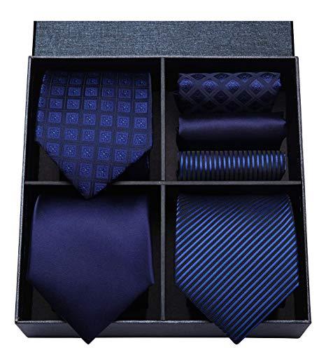 HISDERN Lot 3 PCS Classic Men's Silk Tie Set