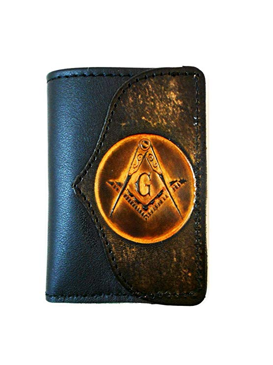 Handcrafted Leather Trifold Wallet Masonic Mason