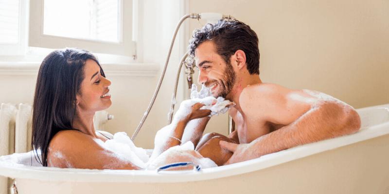 Romantic bath together
